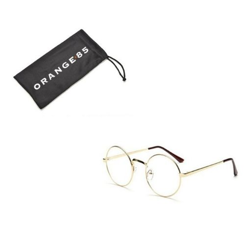 bril rond goud + hoesje