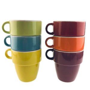 Orange85 Koffiekopjes gekleurd 200 ml 6 stuks