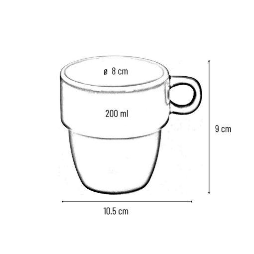 Koffiekopjes gekleurd afmetingen
