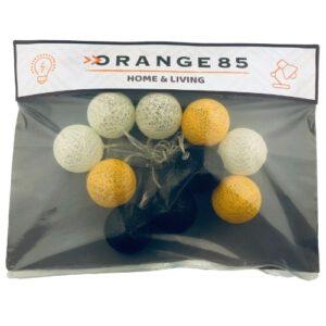Orange85 Lichtslinger 10 cotton balls oranje wit bruin