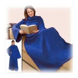 Fleece deken met mouwen blauw