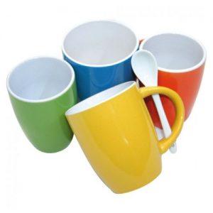 Koffiemok met lepel 4 stuks