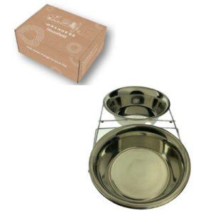 Orange85 Voerbak hond RVS 2 stuks zilver (1)