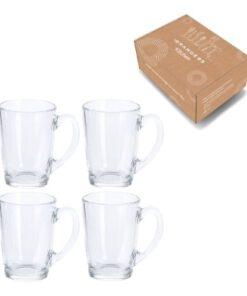 Orange85 Koffiemok Theeglas met Oor Hittebestendig 4 stuks