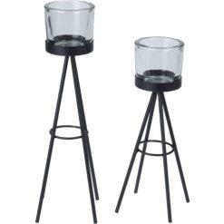 Orange85 Theelichthouder Set van 2 Glas Staal Zwart