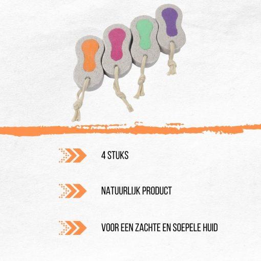 Orange85 Puimsteen - Eeltverwijderaar - Voetverzorging - Set van 4 - Scrub - Eelt - Lava - Koord