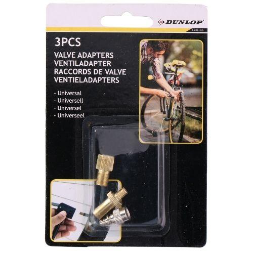 Dunlop Fietsventiel Set 3 Stuks Verloopnippel Frans Ventiel Universeel