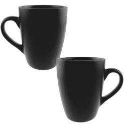 Orange85 Koffiekopjes Mat Zwart 340ml Set van 2