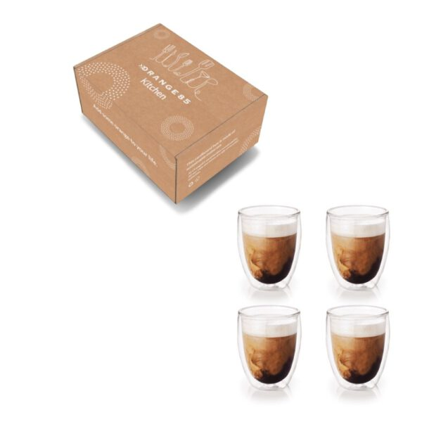 Orange85 Koffieglazen Dubbelwandig 4 stuks 360ml 4