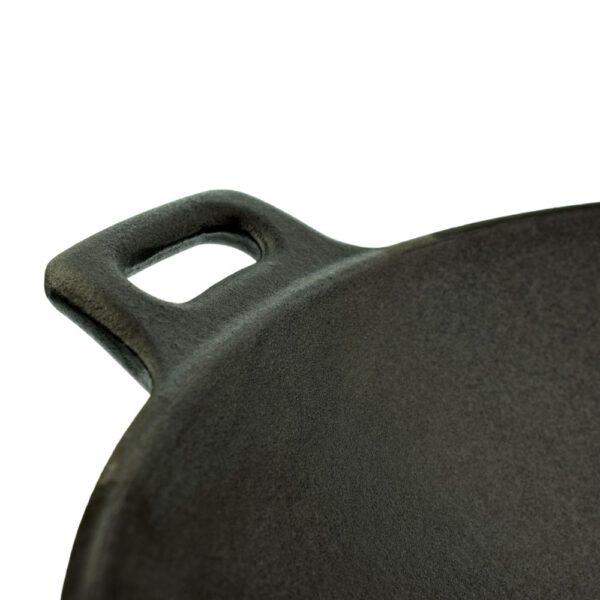 gietijzeren wokpan 31 cm detail