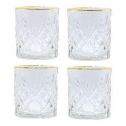 Whiskey glazen goud vooraanzicht