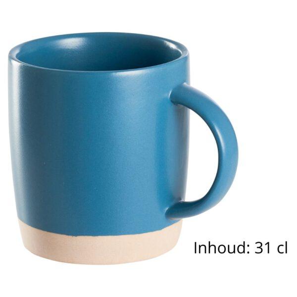 Detail koffiekopjes steen blauw
