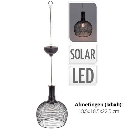 Ronde solar hanglamp buiten detail