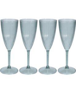 Orange85 Champagneglazen 4 Stuks Plastic Blauw Ribbel