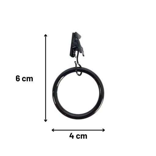 Douchegordijn ringen met klem zwart Afmetingen