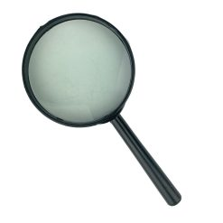 Vooraanzicht vergrootglas zwart