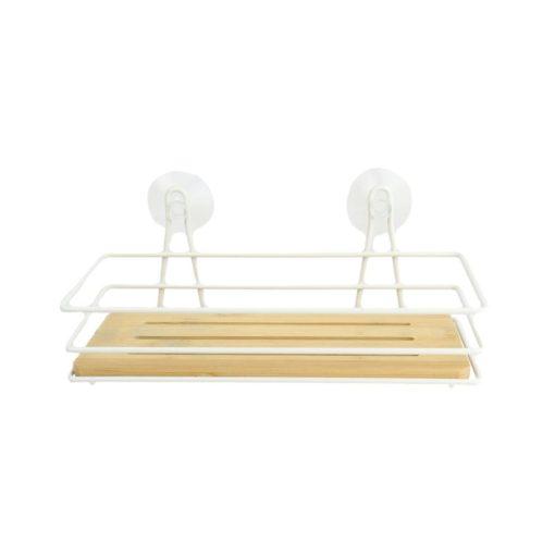 Orange85 Doucherek zonder boren Hangend Bamboe 1 Laags met Zuignappen 1_voor