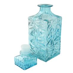 Orange85 Whiskey Karaf 1 Liter Turquoise met Dop 9.5 x 9.5 x 24.5 cm Glas Keuken