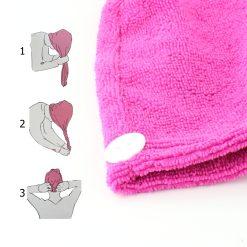 Orange85 Haarhanddoek Microvezel Roze 1,5 x 51 x 21 cm Nylon Polyester Badkamer Accessoires 3_instructie