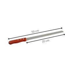 Orange85 Taartmes Gekarteld met Houten Handvat 50 cm Roestvrij Staal Multifunctioneel met Beschermho4_afmetingen