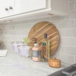 Orange85 Wijnglazen Set van 2 Luxe 100 x 100 x 170 mm met Gouden Rand Vaatwasserbestendig Keukengerei