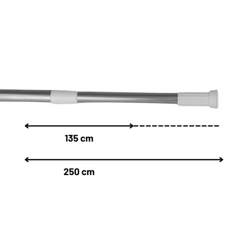 Douchestang 135cm tot 250cm Uitschuifbaar Stang Verstelbaar Badkamer