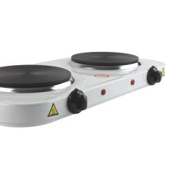 Orange85 Elektrische Kookplaat 2 Pits Dubbel Wit 230 Volt Rond Inductie voor Stopcontact Kampeer Accessoires