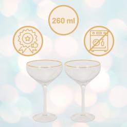 Orange85 Martini Glazen met Gouden Rand Transparant 2 Stuks Luxe Cocktail